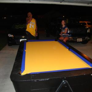 unknown 6' coin-op pool table - AFTER puple on gold