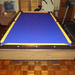 8' unknown pool table - AFTER Championshisp gold on purple